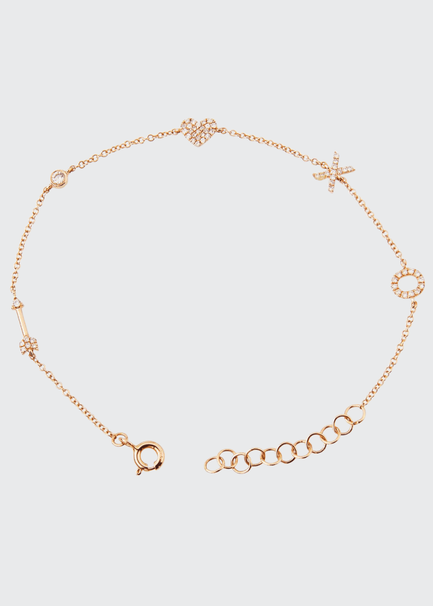 EF Collection 14k Diamond Sweetheart Charm Bracelet