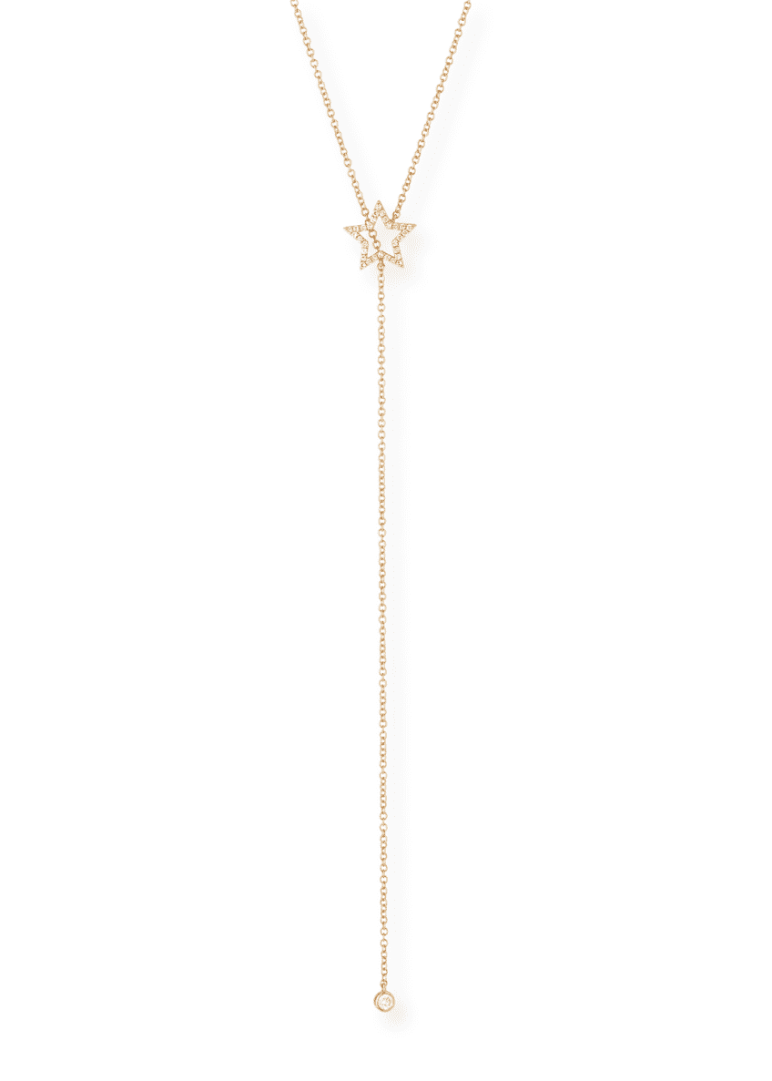 EF Collection 14k Diamond Open Star Lariat Necklace