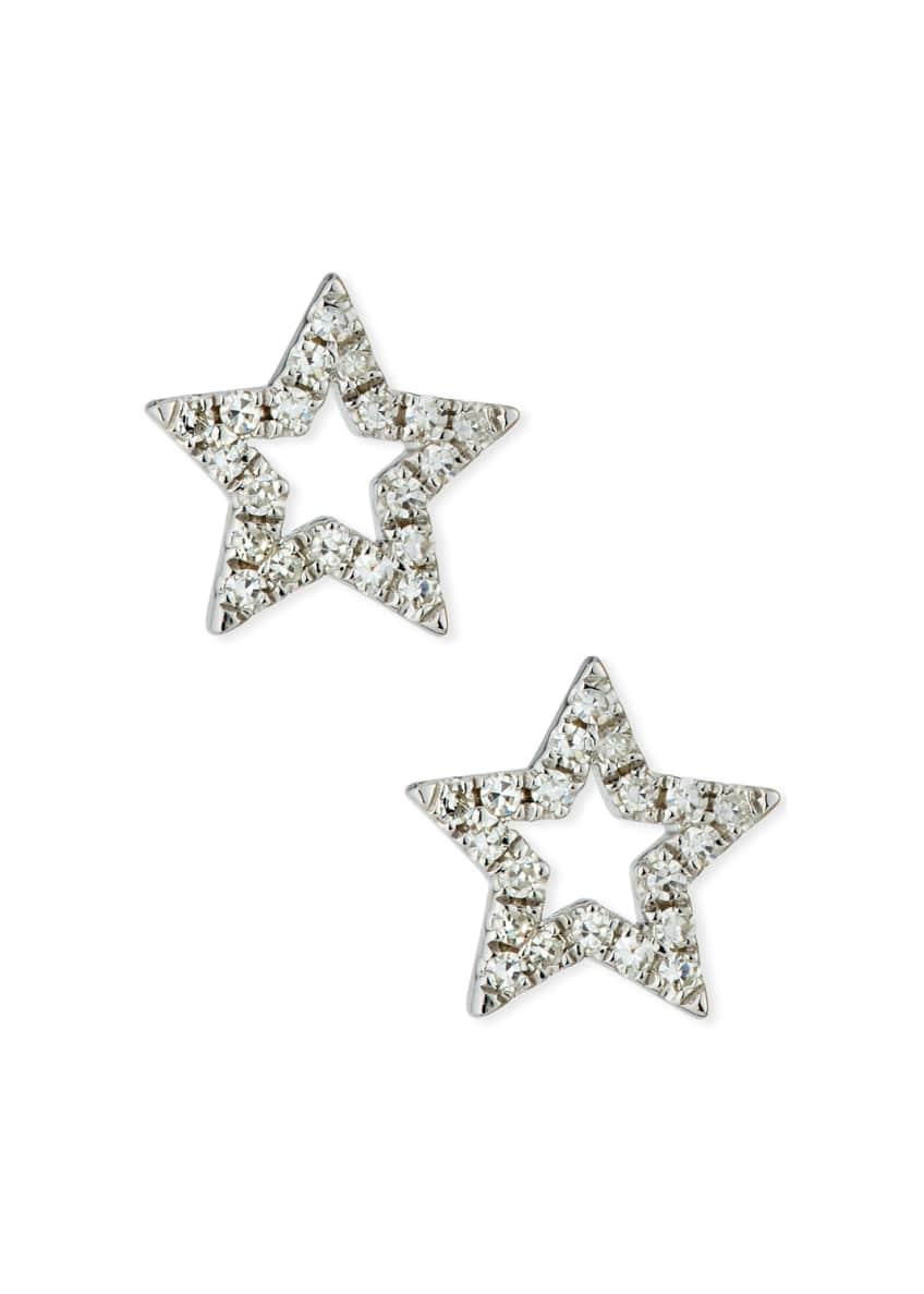 EF Collection 14k Diamond Open Star Stud Earrings