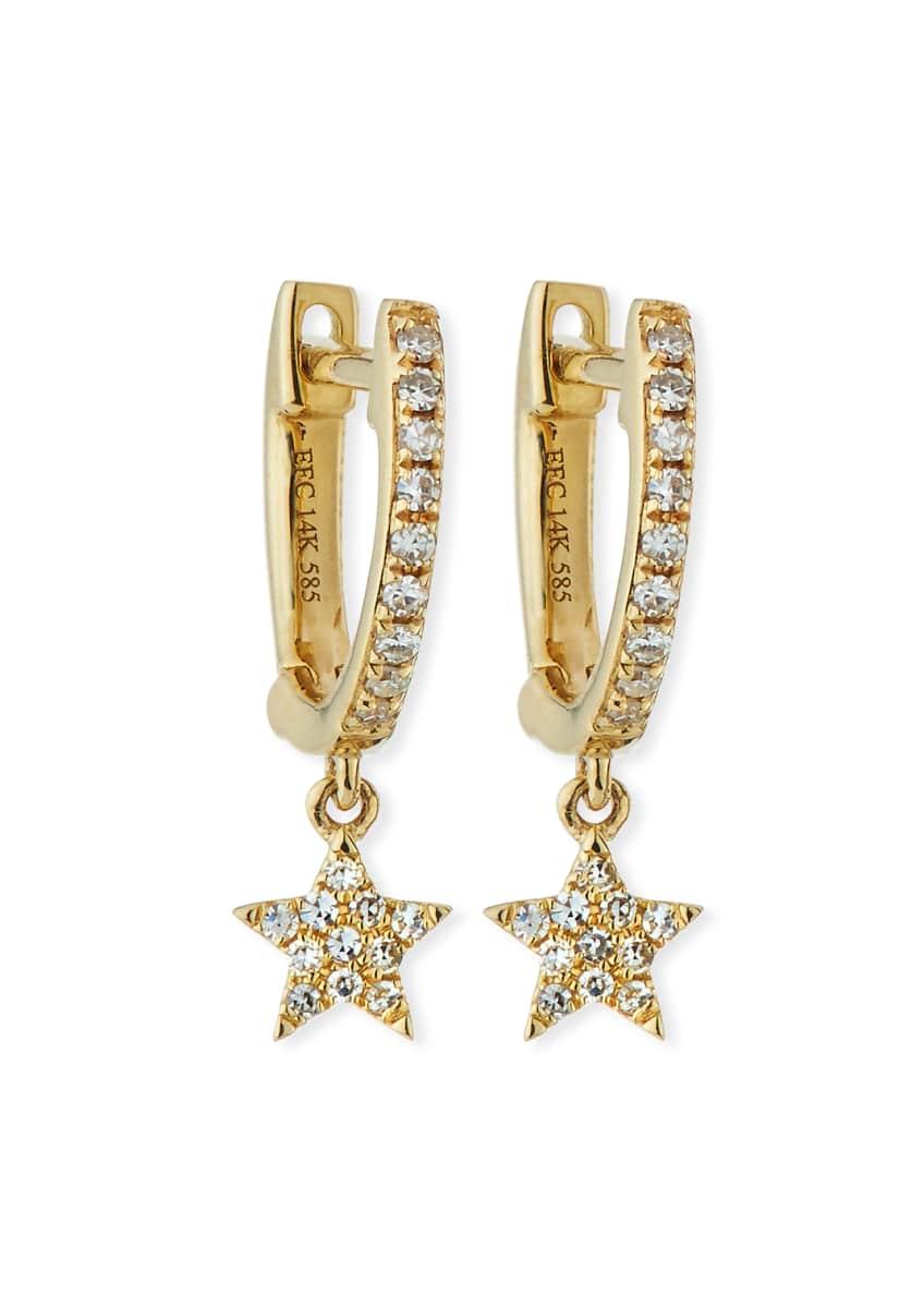 EF Collection 14k Mini Huggie Diamond Star Drop