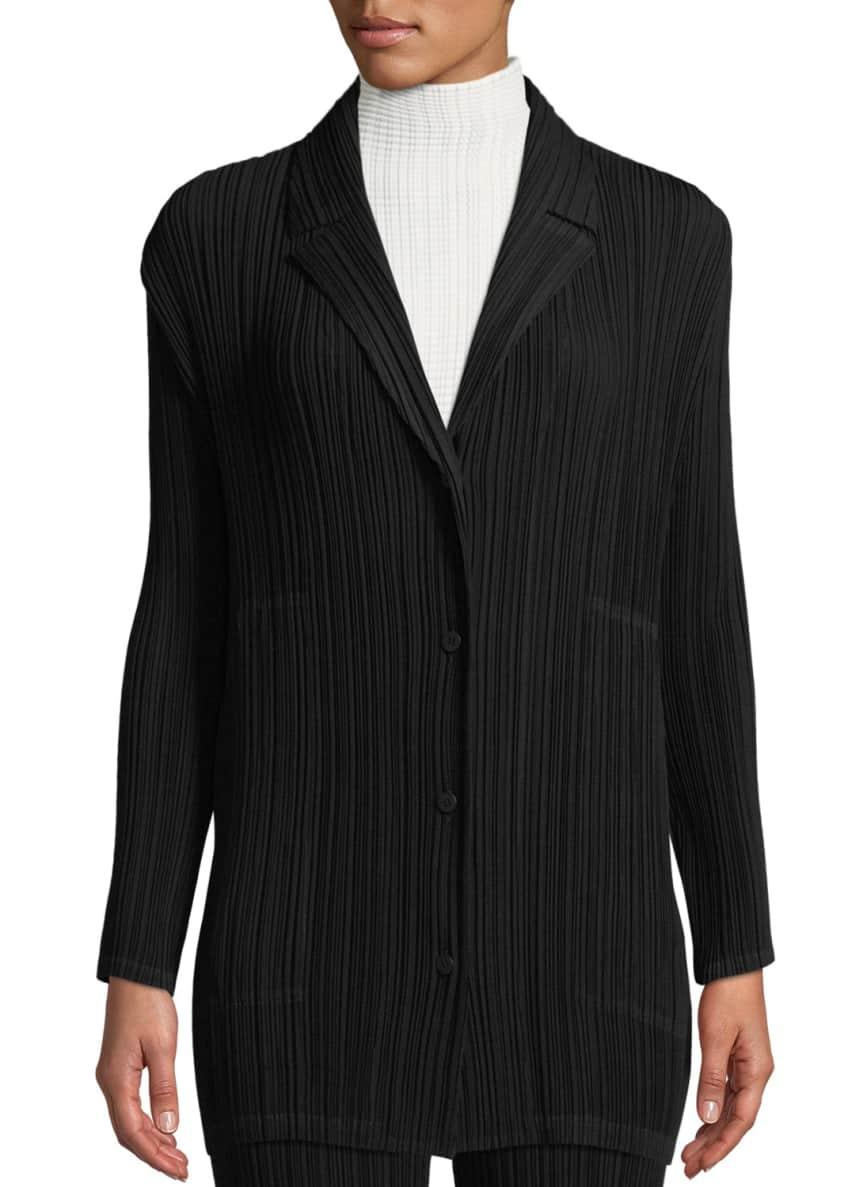 Issey Miyake Button-Front Plisse Cardigan Jacket & Matching