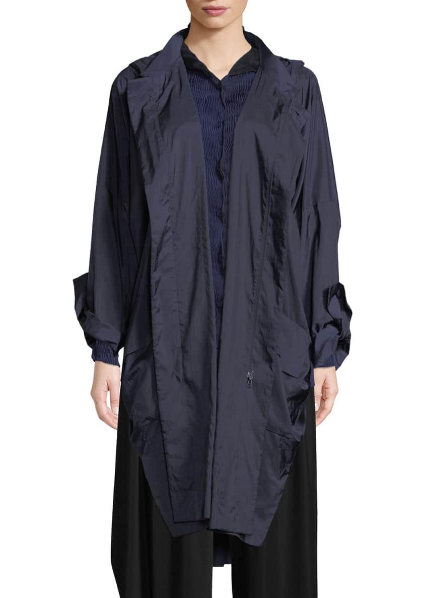 Issey Miyake Zip-Front Hooded Foldable Rain Jacket &