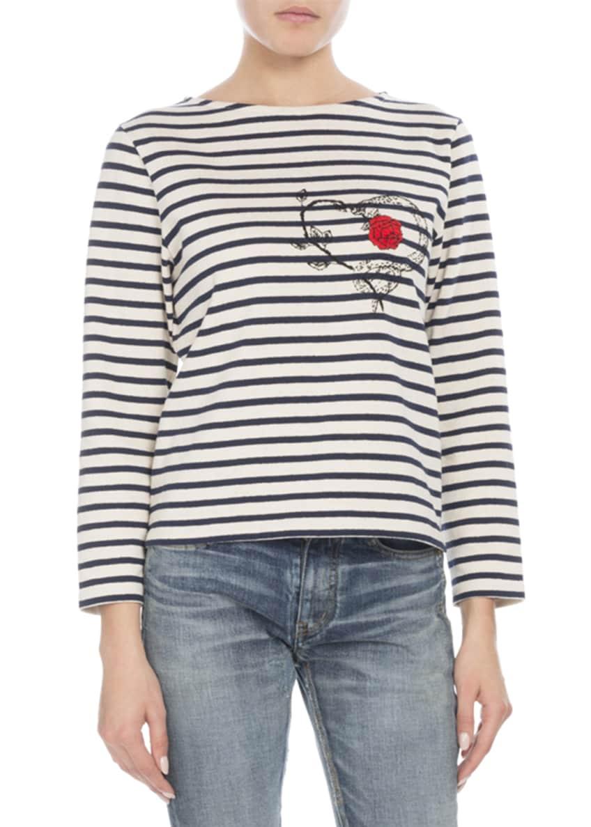 Saint Laurent Crewneck Long-Sleeve Striped Knit Top w/