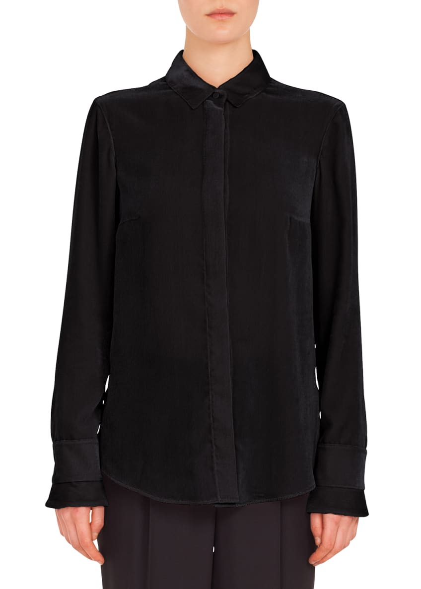 Akris punto Long-Sleeve Button-Front Velvet-Front Jersey-Back