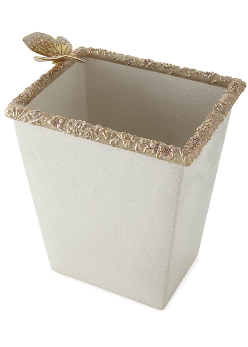 Image 1 of 1: Boudoir White Crackle Glaze Wastebasket
