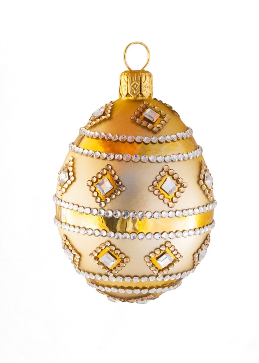 Patricia Breen Medium Egg Stripe and Crystal Ornament