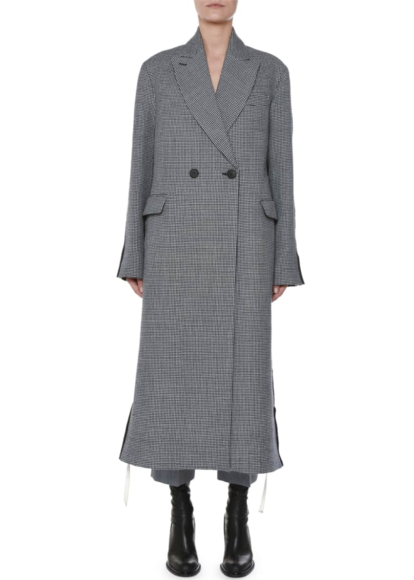 Stella McCartney Racer-Side Check-Front Oversized Coat & Matching