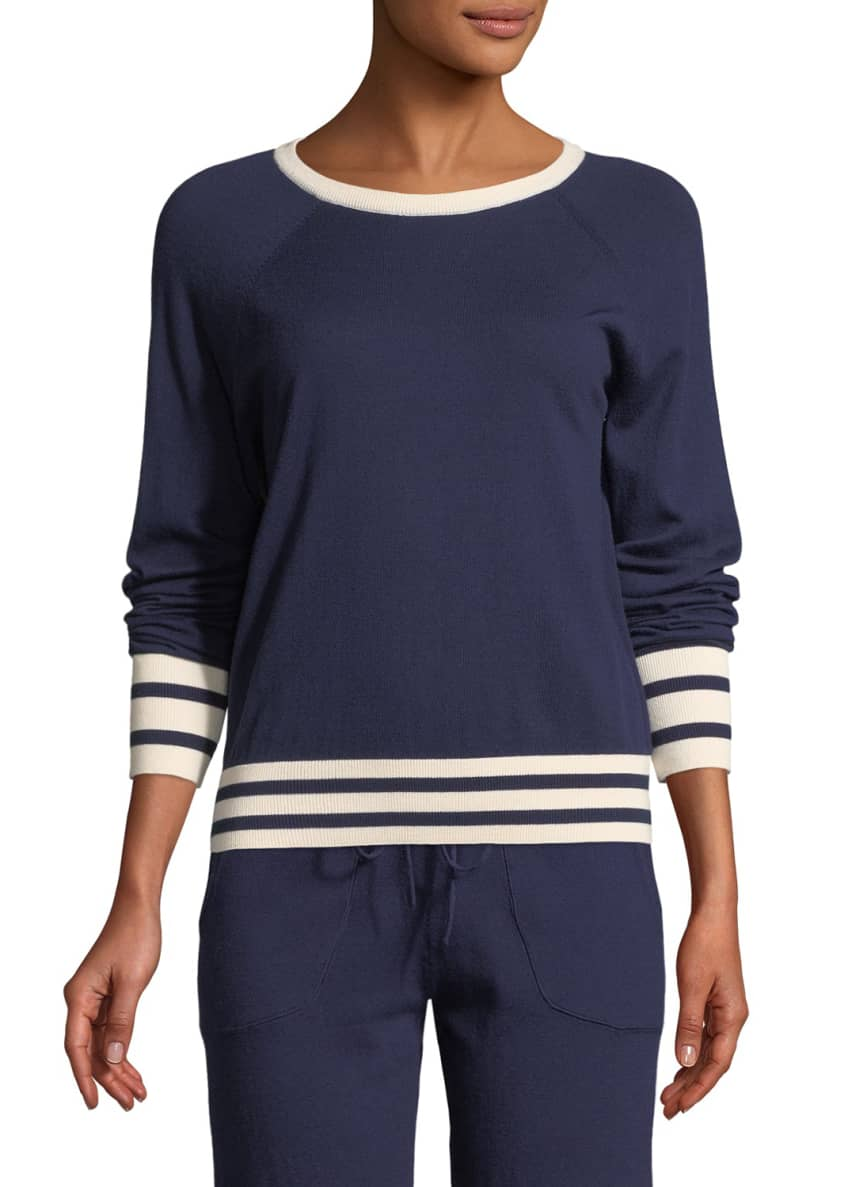 Equipment Axel Striped-Trim Cropped Tennis Sweater & Matching