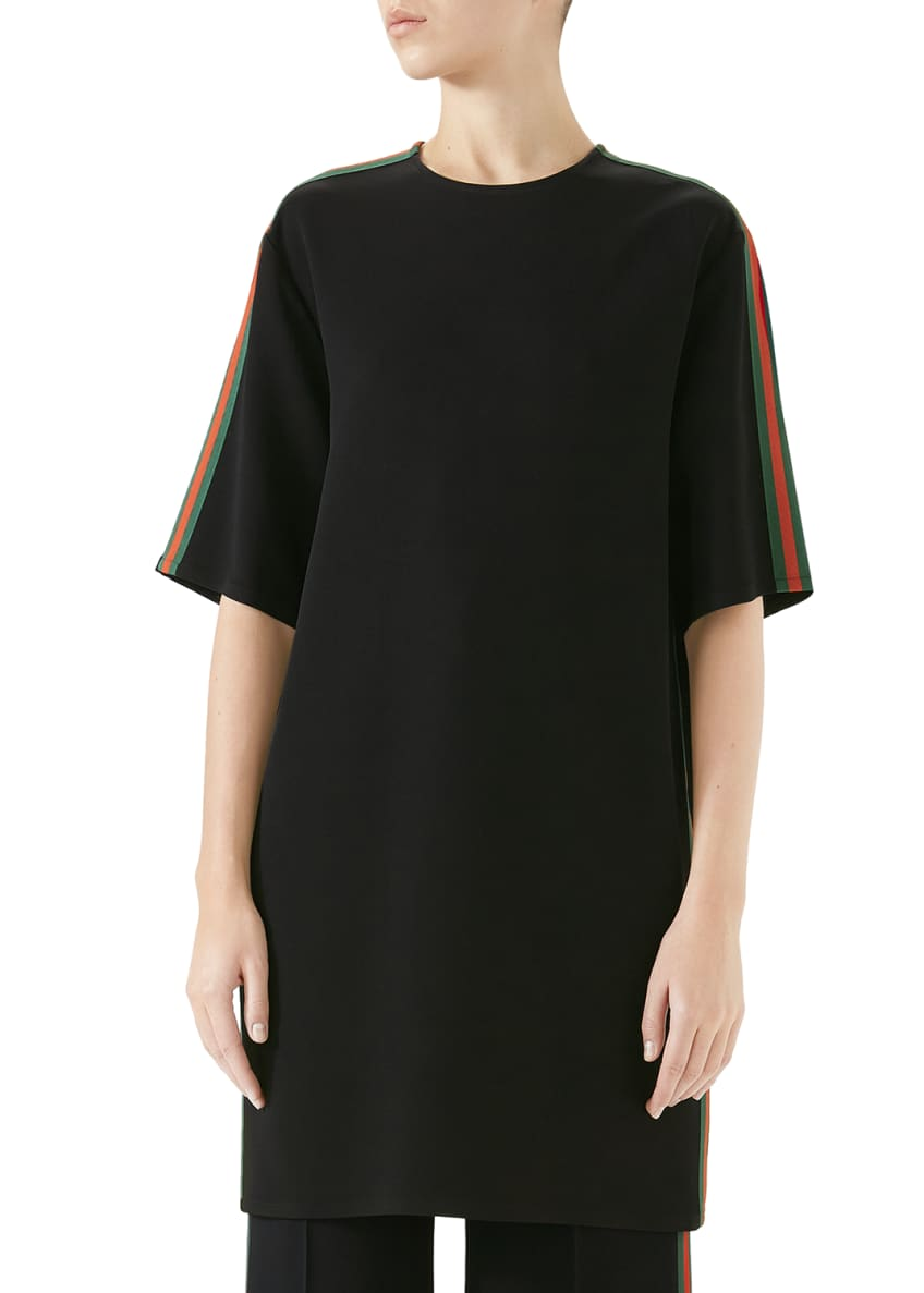 Gucci Short-Sleeve Boxy Light-Viscose Cady Stretch Dress w/