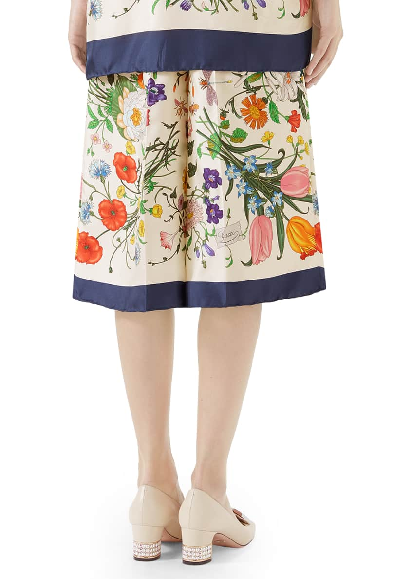 Image 2 of 6: Floral-Print Silk Twill Cropped Pajama Culottes