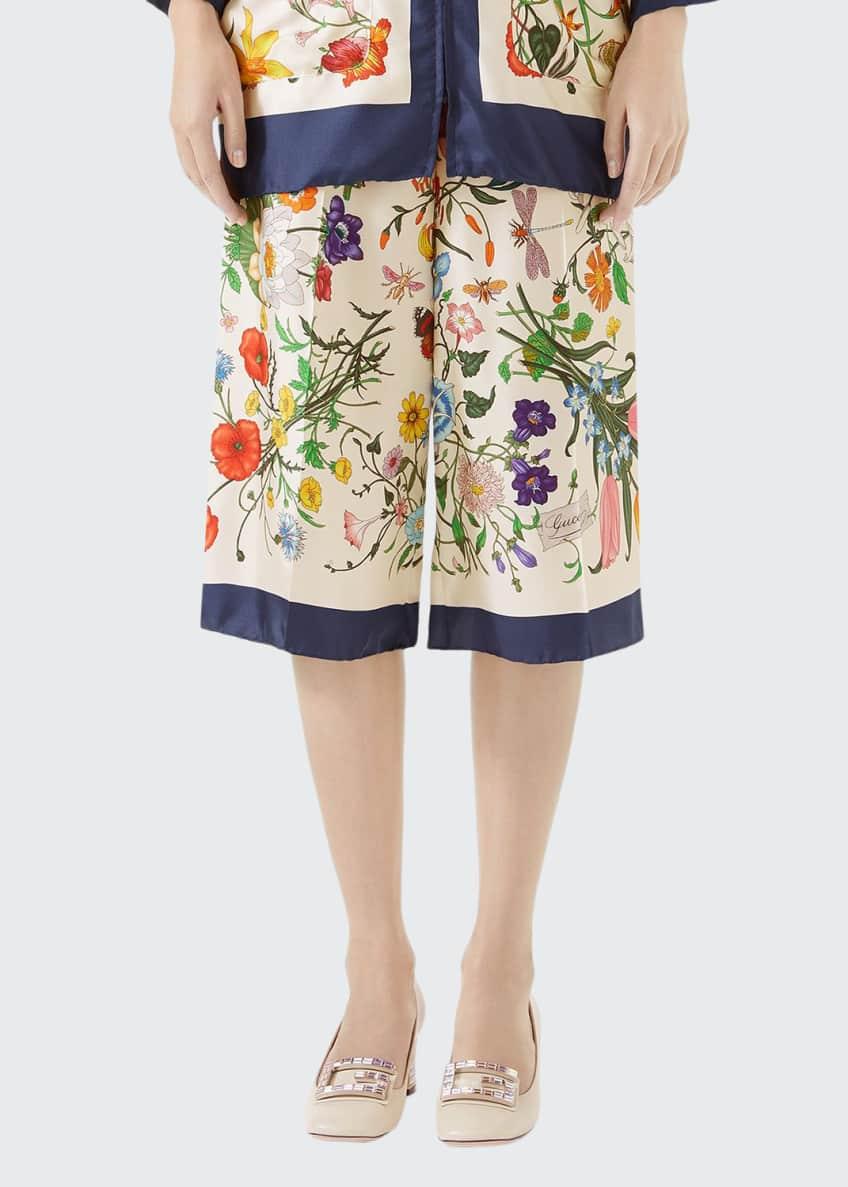 Gucci Floral-Print Zip-Front Silk Twill Pajama Top &