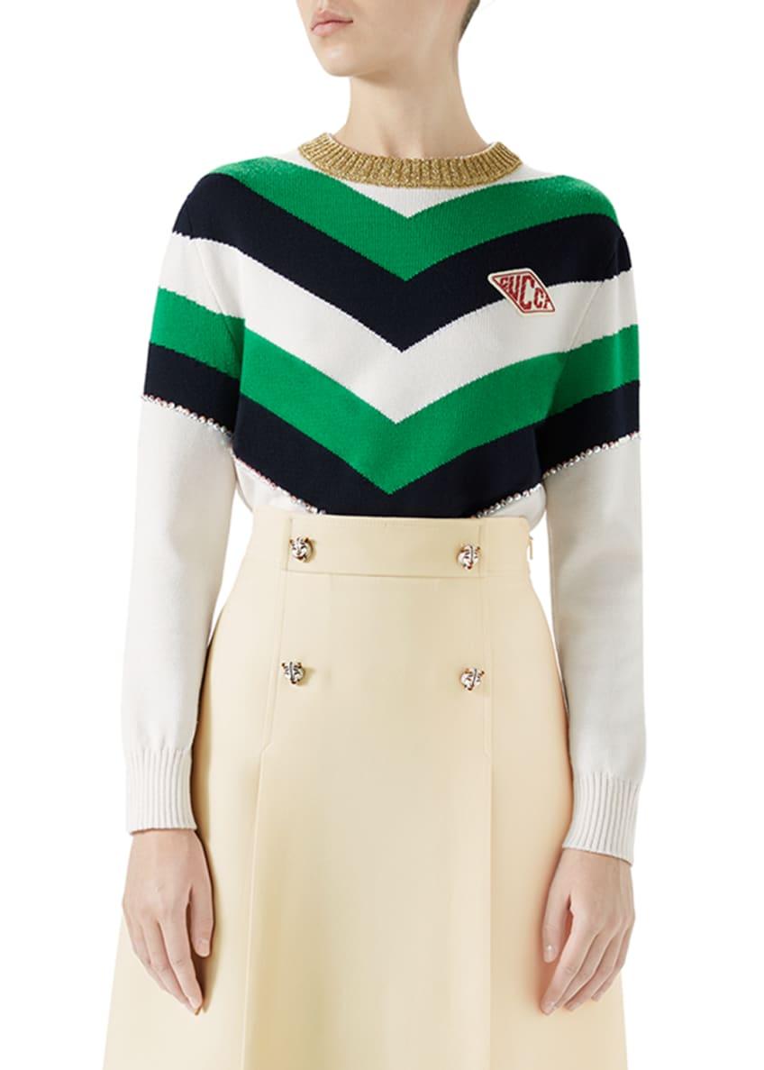 Gucci Chevron Intarsia Cotton Sweater Top with Logo