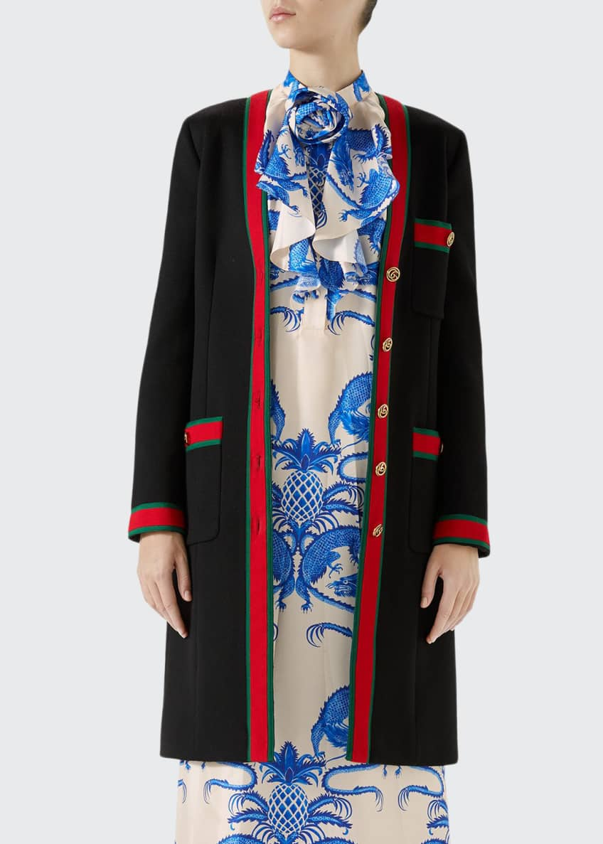 Gucci Single-Breasted Web-Trim 3-Pocket Wool Coat & Matching