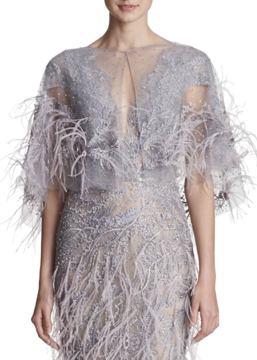Marchesa Illusion Tulle Beaded & Ostrich Feather Cape