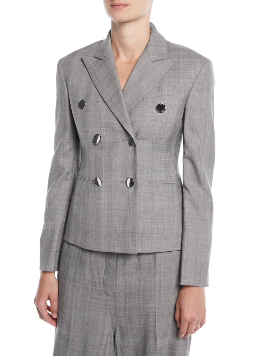 CALVIN KLEIN 205W39NYC Double-Breasted Check Virgin Wool Blazer