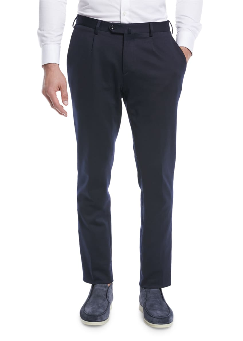 Image 1 of 3: Men's Pleated Jersey Pants