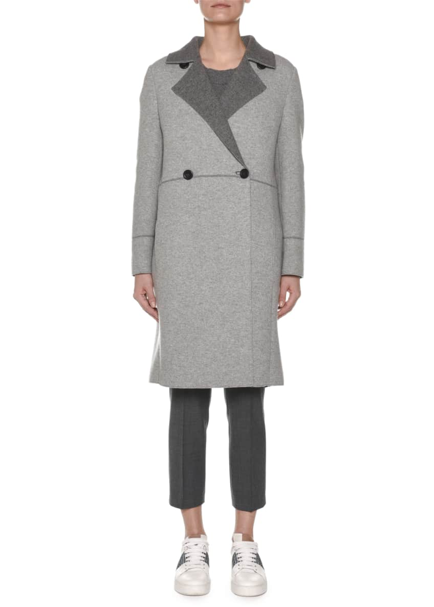 Agnona Double-Breasted Cashmere Military Coat w/ Fur Collar