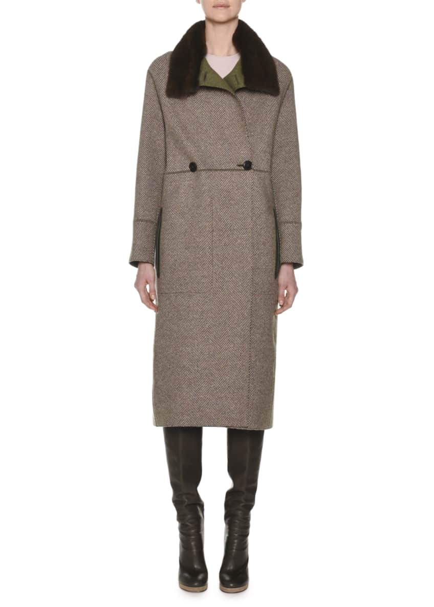 Agnona Double-Breasted Herringbone Cashmere Military Coat with