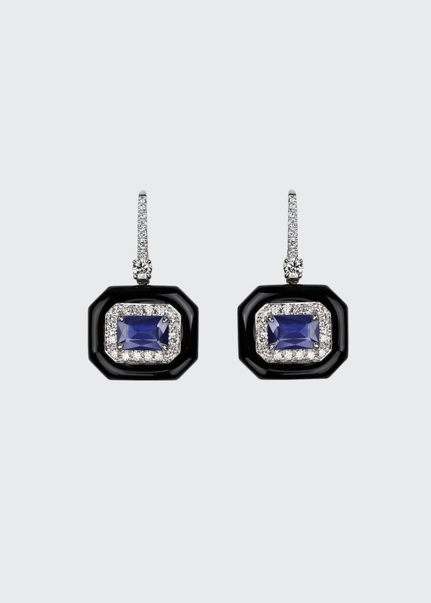Image 1 of 1: 18k White Gold Oui Diamond & Sapphire Earrings