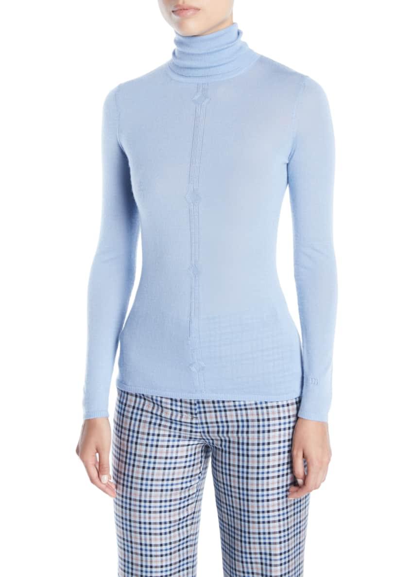 Gabriela Hearst Turtleneck Long-Sleeve Cashmere-Silk Top &