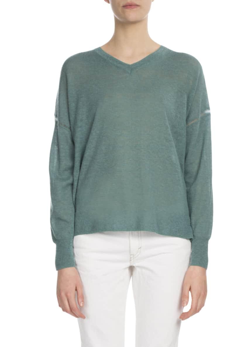 Etoile Isabel Marant Field V-Neck Side-Split Pullover Sweater