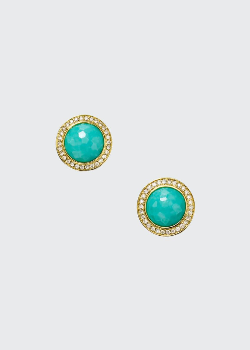 Ippolita Lollipop 18k Gold Turquoise & Diamond Earrings
