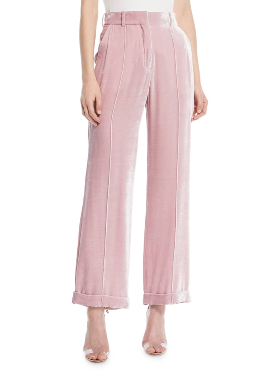 Image 1 of 3: Charlie High-Waist Cuffed Straight-Leg Shiny Velvet Pants