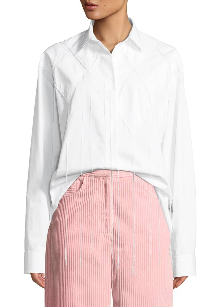 Cedric Charlier Diamond-Applique Long-Sleeve Button Down Cotton
