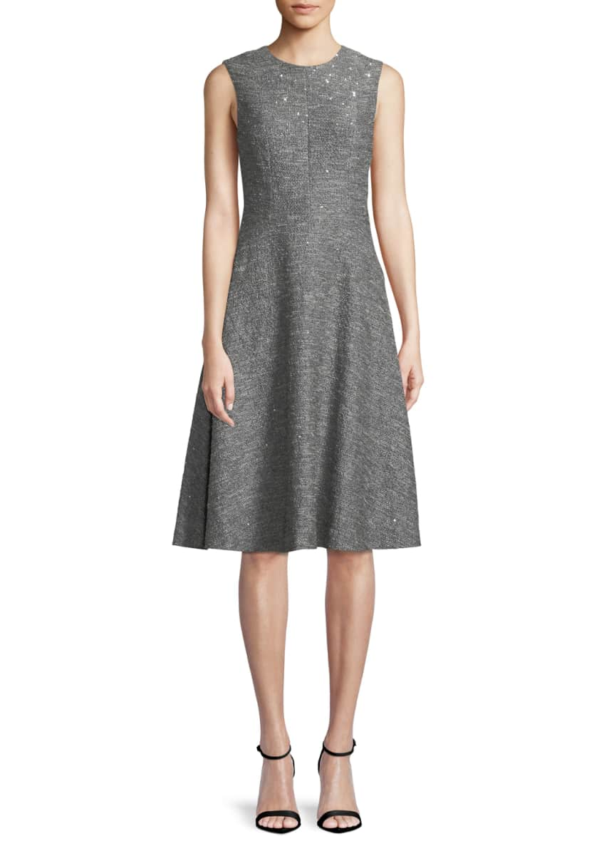 Lela Rose Sequin Sleeveless Seamed Fit-and-Flare Dress &