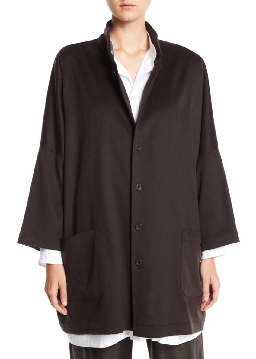 Eskandar Dropped-Shoulders Button-Front Baby Camel Jacket &