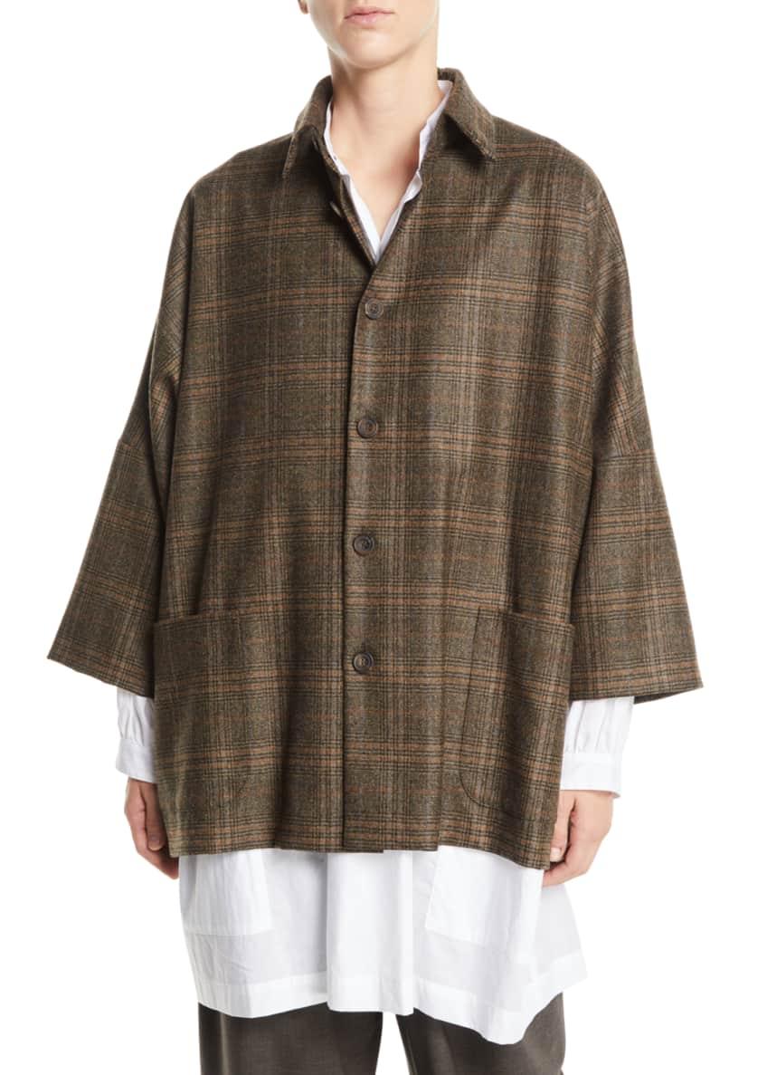 Eskandar Dropped-Shoulder Button-Front Plaid Wool Jacket &