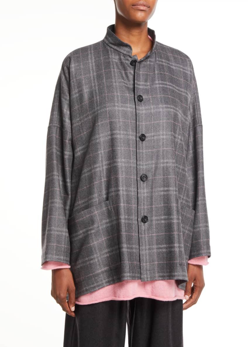 Eskandar Button-Front Plaid Cashmere Wide Mandarin Jacket &