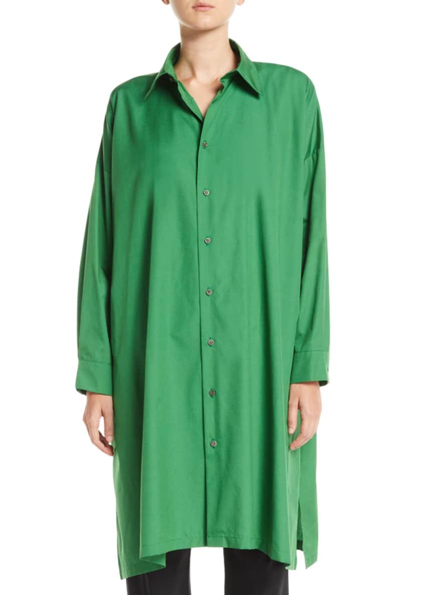 Eskandar Button-Front A-Line Long Cotton Shirt w/ Slits
