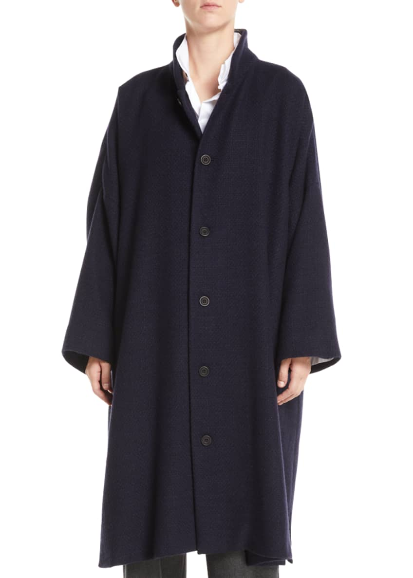 Eskandar Stand-Collar Button-Front Long Imperial Cashmere Coat &