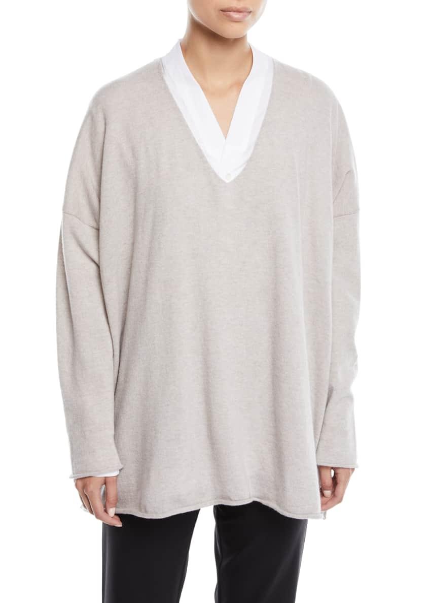 Eskandar V-Neck Long-Sleeve A-Line Cashmere Sweater & Matching