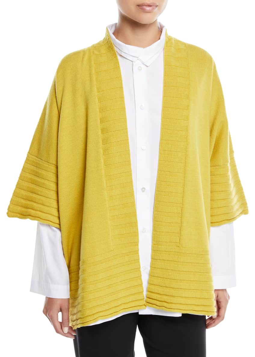 Eskandar Short-Sleeve Ribbed Merino Wool Short Poncho Cardigan