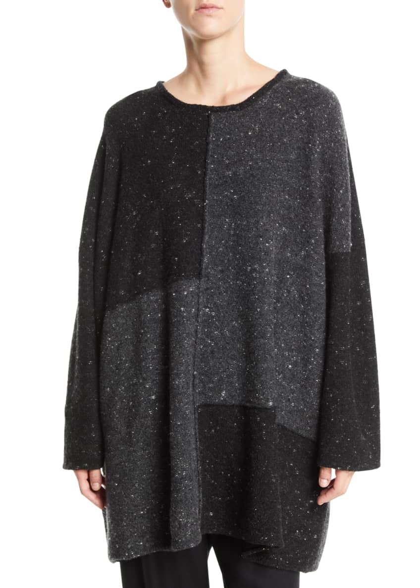 Eskandar Round-Neck Long-Sleeve Melange Wool-Cashmere Sweater &