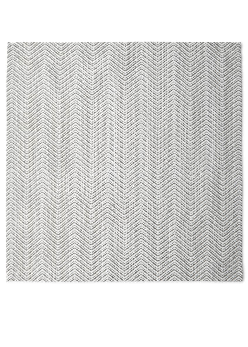 Kim Seybert Drift Zigzag Napkin, White/Silver/Gold