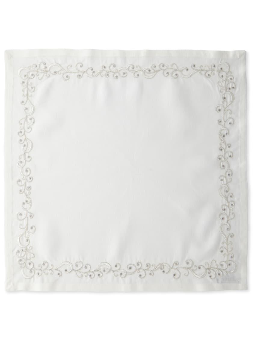 Kim Seybert Ritz Embroidered Linen Napkin, White/Silver