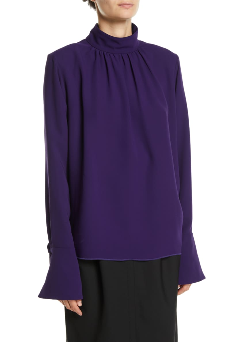 Marc Jacobs Gathered Mock-Neck Long-Sleeve Silk Blouse w/