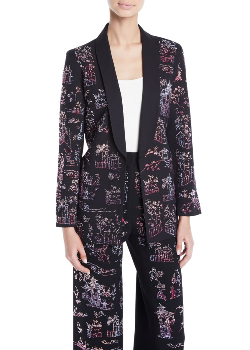 Libertine Chinoiserie-Crystal Tie-Waist Wool Long Blazer &