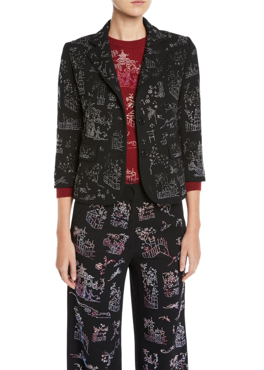 Libertine Chinoiserie Crystal One-Button 3/4-Sleeve Wool Blazer &