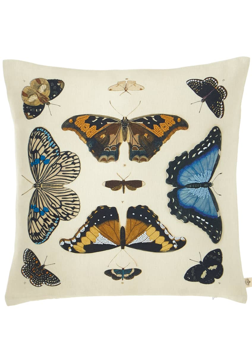 Image 1 of 2: Mirrored Butterflies Decorative Pillow