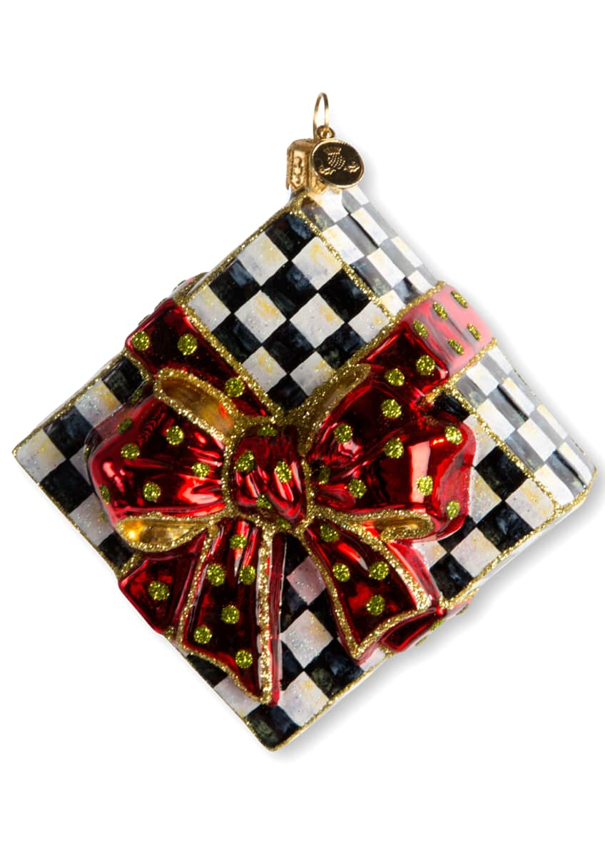 MacKenzie-Childs Courtly Check Present Glass Christmas Ornament