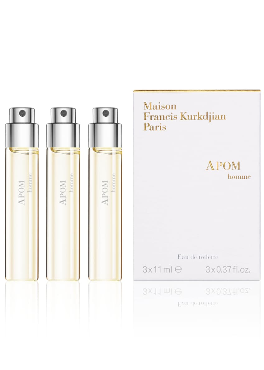 APOM homme Eau de Toillete Travel Spray Refills, 3 x 0.37 oz./ 11 mL