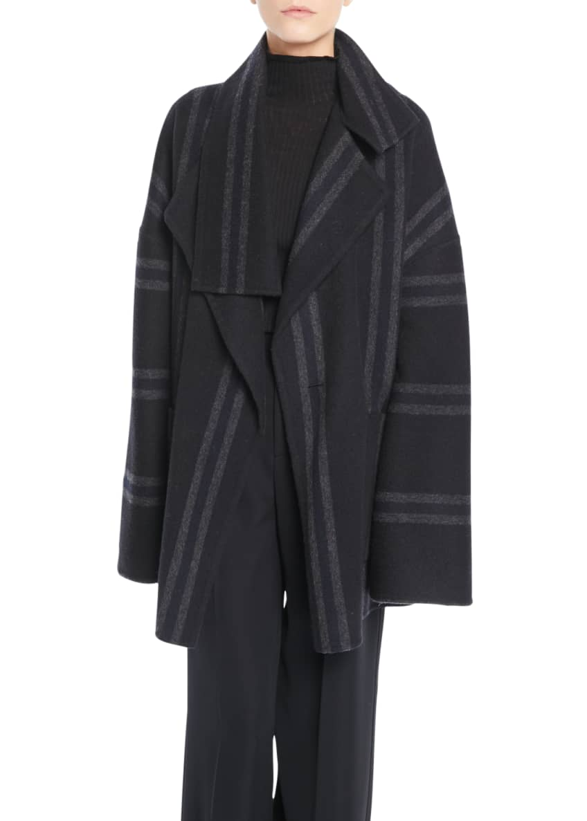 Vince Striped Belted Wool Blanket Coat & Matching