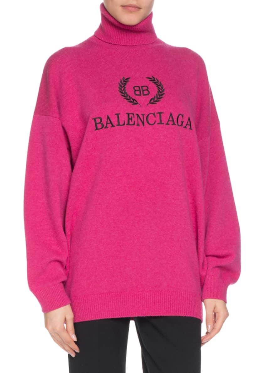 Balenciaga Cashmere-Blend Logo Embroidery Turtleneck Sweater &