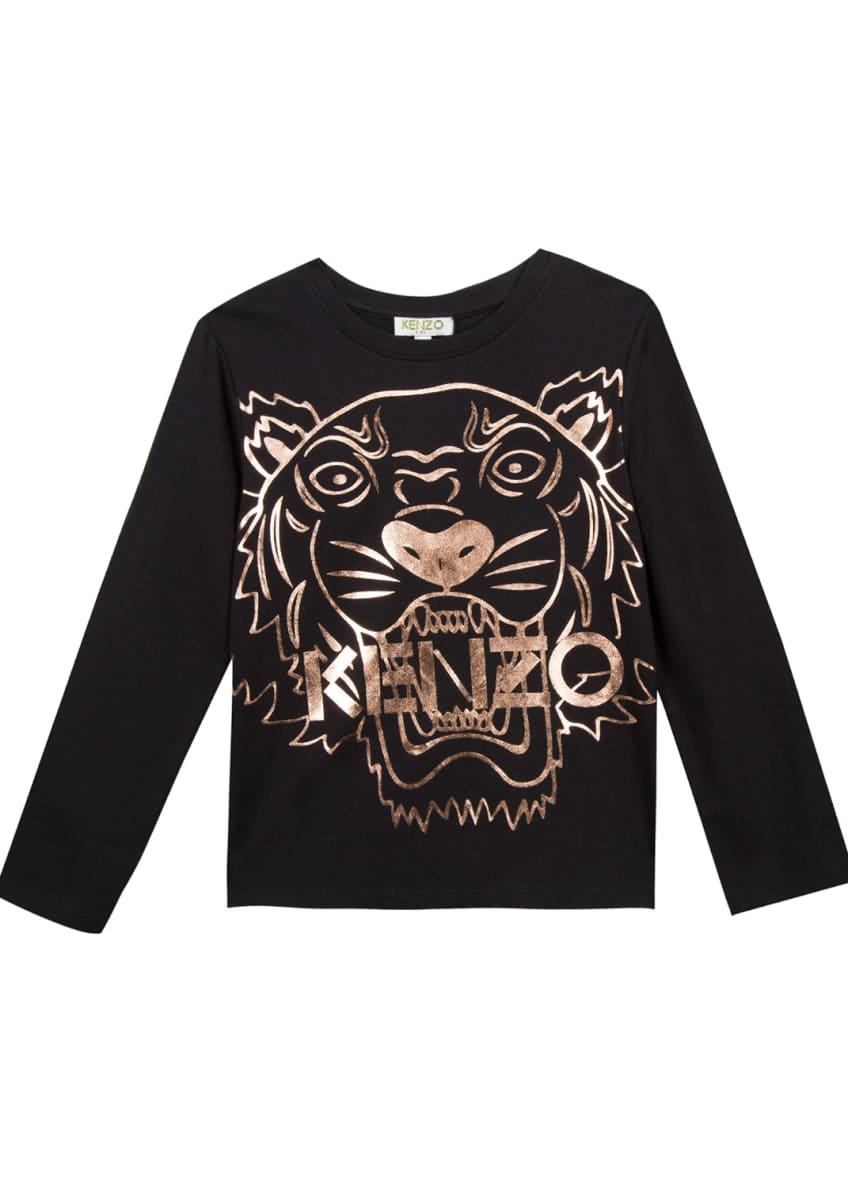 Kenzo Metallic Tiger Face Icon Long-Sleeve T-Shirt, Size
