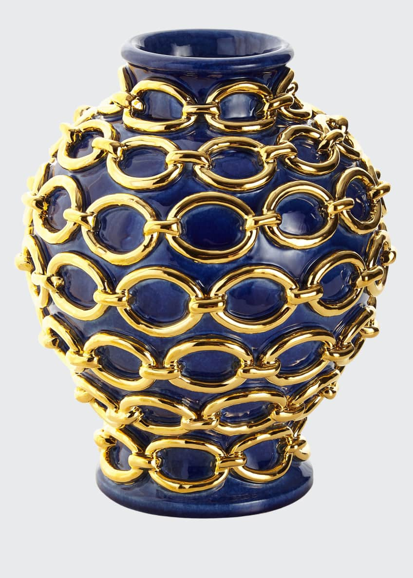 Dolfi Gold Chain Wrapped Vase, Blue