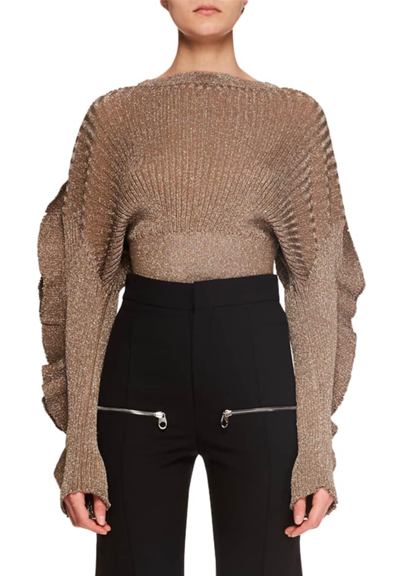 Chloe Ruffle-Sleeve Metallic-Ribbed Short Sweater & Matching